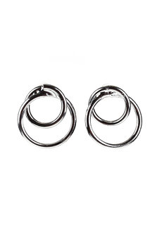 Castleton Double Circles Earrings by Moxie PH in Silver