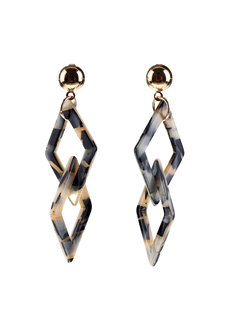 Currant Geometric Long Earrings by Moxie PH in Cream