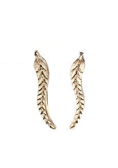 Flaxen Leaf Ear Cuffs by Moxie PH in Gold