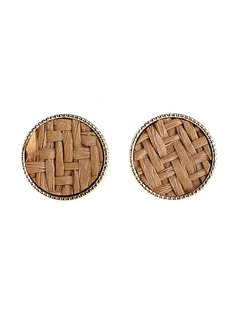 Merigold Weave Earrings Stud by Moxie PH in Brown