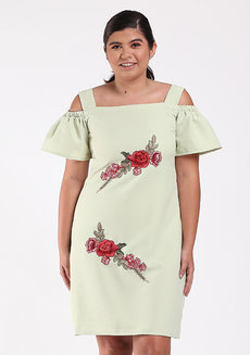 Gezana Embroidered Cold-Shoulder Shift Dress by Chelsea in Green in XL