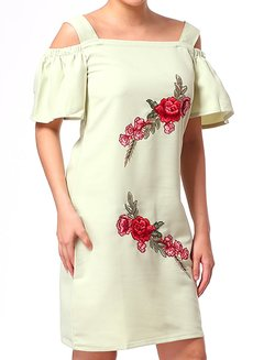 Gezana Embroidered Cold-Shoulder Shift Dress by Chelsea in Green in S