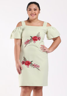 Gezana Embroidered Cold-Shoulder Shift Dress by Chelsea in Green in L