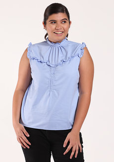 Mendi Ruffle Top by Chelsea in Light Blue in XL