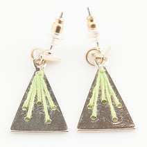 Gold/Green Triangle Earrings by Timi