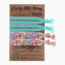 Little Twin Stars and Aqua Lace Hair Ties by Little Tree Palette in