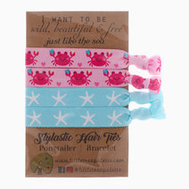Pink Crab and Blue Starfish Hair Ties by Little Tree Palette