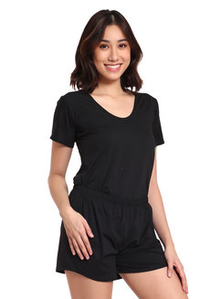 T-Shirt and Shorts Set by Daily Design in Black in Free Size