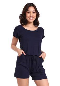Sleeved Romper by Daily Design in Navy Blue in Free Size