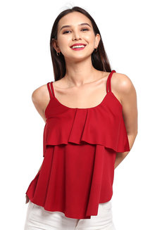 Layered Cami by Daily Design in Red in Free Size