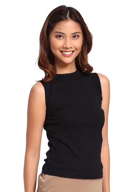 Ribbed High Neck Sleeveless Top by Daily Design