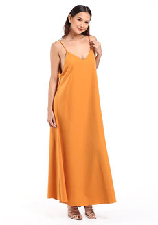 Sleeveless V-Neck Maxi Dress by Daily Design in Mustard in Free Size