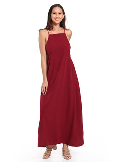 Sleeveless Square Neck Maxi Dress by Daily Design in Wine in Free Size