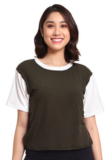 Varsity Crop Top by Daily Design in Olive in Free Size