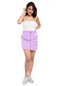 Zipper Denim Skirt by Fudge Rock in Purple in M