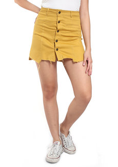 Button Down Skirt by Fudge Rock in Mustard in M