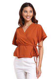 Wrap Around Top by That Chic Shop in Rust in Free Size