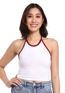 Amanda Duo-Color Self-Tie Halter Top by Morning Clothing in White with Maroon Lining in Free Size
