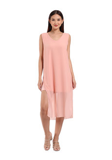 Janna Dress by Ampersand in Peach in Free Size