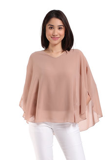 Caitlyn Blouse by Ampersand in Beige in Free Size