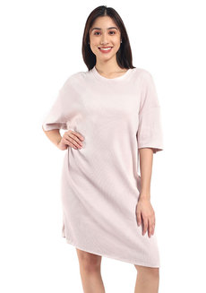 Lazy Big Shirt Dress by Lazy Fare in Pink in Free Size