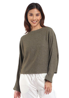 Lazy Loose Sweater by Lazy Fare in Olive Waffle Knit in Free Size