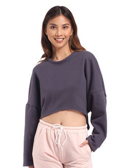 Lazy Midriff Sweater by Lazy Fare in Gray in Free Size