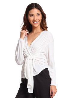 Lazy Knit Wrap Sweater by Lazy Fare in White in Free Size