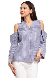Tony Top by Mode De Vie in Blue & White Stripes in Free Size