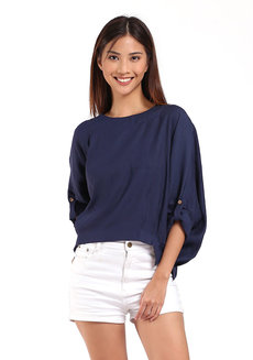 Pam Top by Toppicks Clothing in Navy Blue in Free Size