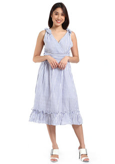 Dixie Striped Dress by Toppicks Clothing in White and Blue Stripes in Free Size