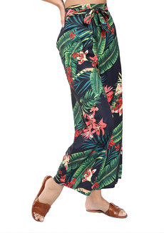 Floral Summer Pants by Pink Lemon Wear in Printed Floral in Free Size