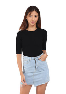 Kathleen Ribbed Top by Mantou Clothing in Black in Free Size