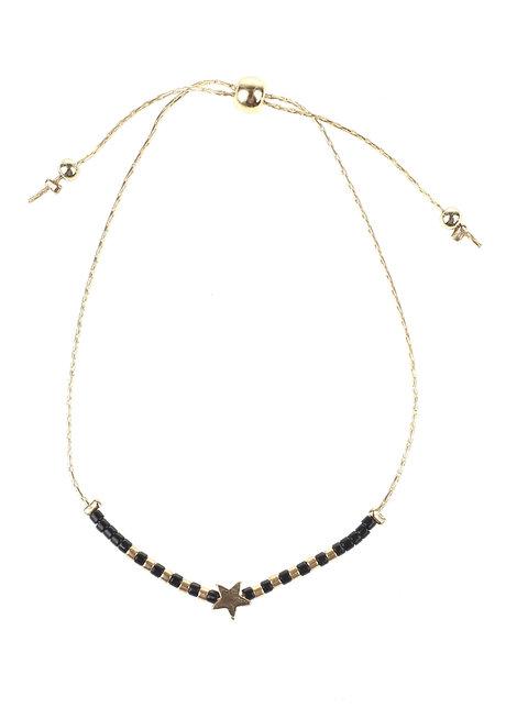 Black Bead Gold Star Bracelet by Adorn by MV