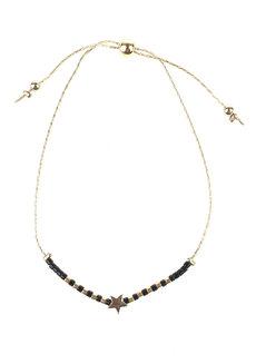 Black Bead Gold Star Bracelet by Adorn by MV in Gold, White
