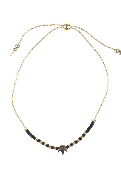 Black Bead Gold Crown Bracelet by Adorn by MV