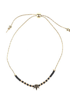 Black Bead Gold Crown Bracelet by Adorn by MV in Gold, White