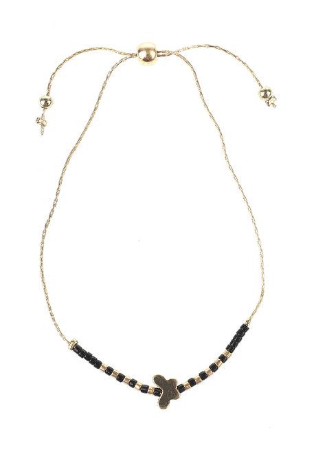 Black Bead Gold Butterfly Bracelet by Adorn by MV