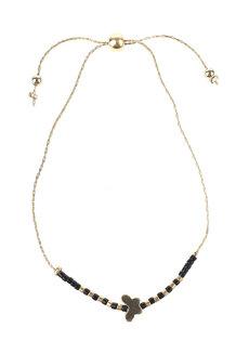 Black Bead Gold Butterfly Bracelet by Adorn by MV in Gold, Black