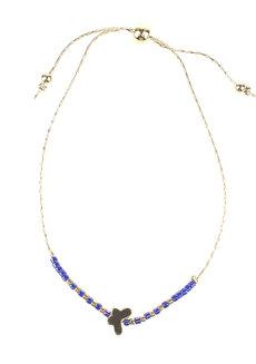 Blue Bead Gold Butterfly Bracelet by Adorn by MV in Gold, Blue