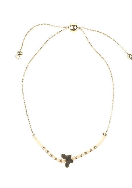 White Bead Gold Butterfly Bracelet by Adorn by MV