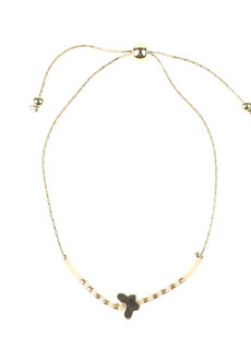 White Bead Gold Butterfly Bracelet by Adorn by MV in Gold, White