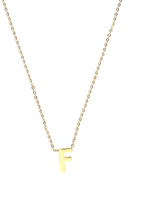 Letter F Gold Necklace by Adorn by MV