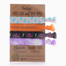 Blue Cactus and Purple Tie Dye Hair Ties by Little Tree Palette