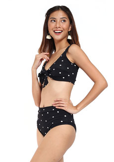 Strappy Bow Tie Polka Dot High Waist Bikini Set by Chic Beauthic in Black in Free Size
