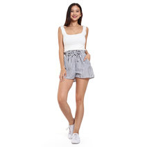Striped High Waist Shorts with Side Pocket by Chic Beauthic