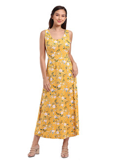 Samantha Long Dress by Lili Co. in Yellow in Free Size