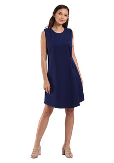 Halsey Sleeveless Dress by Lili Co. in Navy Blue in Free Size