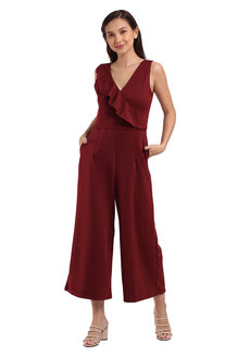 Georgette Backless Jumpsuit by Lili Co. in Maroon in Free Size