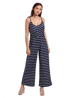 Morrey Padded Jumpsuit by Lili Co. in Navy Stripes in Free Size